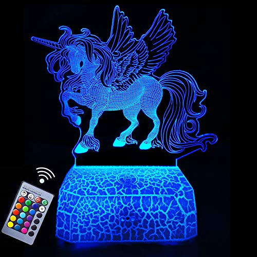 Unicorn 3D Illusion Lamp Night Light 3D Led Lights Gift,Rechargeable LED Bedside Lamp,Dimmable 16 Colors Changing,Touch&Remote Control,Best Toys Birthday Christmas Gifts for Girls Boys