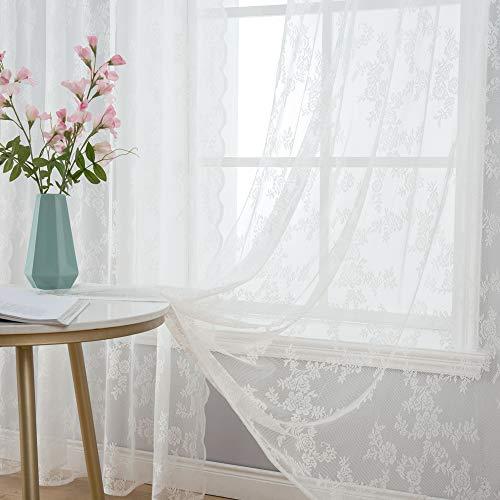MIULEE 2er Set Kettenwirken Lace Vorhang Ösenvorhang mit Spitze Transparente Besondere Dekorative Gardine Halbtransparent Lichtdurchlässig für Wohnzimmer Kinderzimmer Cafeteria 150x245cm Weiß