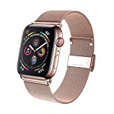TVP Milanese Adjustable Stainless Steel Mesh Loop Replacement Band Compatible for Apple Watch 38 mm 40mm 42mm 44mm, Iwatch Series 6/SE/5/4/3/2/1 (Rose Gold, 42mm/44mm)