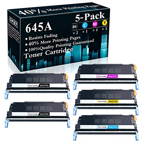 5-Pack (2BK+C+M+Y) 645A | C9730A C9731A C9732A C9733A Remanufactured Toner Cartridge Replacement for HP Color Laserjet 5550n 5550dn 5550dtn 5550hdn 5500dn 5500dtn 5500hdn Printer,Sold by TopInk