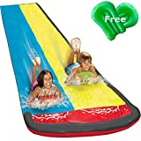 Lane Water Slip and Slide, 16ft Splash and Slide for Kid Adults Backyards   Garden Water Toys Splash Slip Waterslide with 2 Boogie Boards, 16 Foot Two Sliding Racing Lanes with Sprinklers
