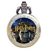 Reloj de bolsillo de cuarzo con grabado antiguo, color bronce para fanáticos de la fantasía