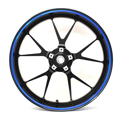 Pegatina para llanta borda ancho 7mm cromo holograma tira decorativa con herramienta de montaje 16' 17' 18' 19' para motocicleta, coche, bicicleta (holograma azul)