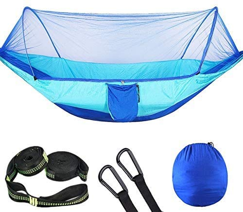 Hamocks Haa de Camping Al Aire Libre Portátil con Haas de Paracaídas de Mosquitos de Mosquitero Columpio Haa de Swing Fácil de limpiar Gymqian