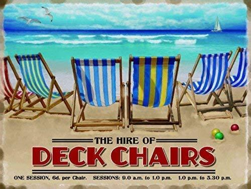 El Alquiler De of Mazo sillas. Day en la playa, arena, juegos y junto al mar. Antigua, retro, anuncio vintage para el hogar, cocina, salón, baño, tienda o café Metal/Cartel De Acero Para Pared - acero, 9 x 6.5 cm (Imán)