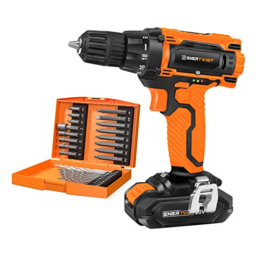EnerTwist 20V Max Cordless Drill, 3/8 Inch Power Drill Set with Lithium Ion Battery and Charger, Variable Speed, 19 Positions and 28-Pieces Drill/Driver Accessories Kit, ET-CD-20
