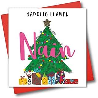 Welsh Language Embellished Christmas Greeting Card, Nadolig Llawen, Nain, Happy Christmas Grandma, Christmas Tree and Presents