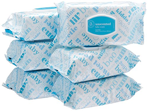 Amazon Elements Updated Formula Baby Wipes, Unscented, 480 Count, Flip-Top Packs