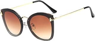 Aiweijia Women's Fashion Sunglasses Retro Metal Plastic Round Full-Frame Cat Eye Lightweight Eyewear
