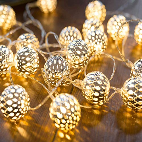 Ramadan Decorations Lights Moroccan String Lights - 19.6ft 40 LEDs Battery Operated Sliver Moroccan Fairy Lights Lights for Window,Fireplace,Garden
