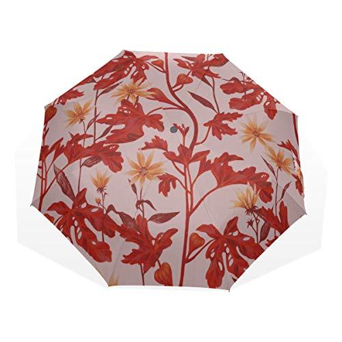 Outdoor Folding Umbrella Fig Fruits On A Branch 3 Fold Art Umbrellas(outside Printing) Bike Rain Umbrella Boy Folding Umbrella Best Travel Umbrellas