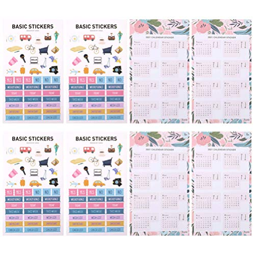 Amosfun 8 Sheets Journal Calendar Stickers 2021 Calendar Planner Monthly Index Tabs Stickers Scheduling Tools Holidays New Year Party Favors