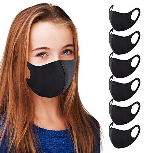 Neubula Lot de 6 Visage_Masque Lavable en Tissus Noirs pour Enfants Unisexes Bandanas en Coton de Soie Glacée Extensibles et Réutilisables pour Garçons Filles Protection Extérieure Intérieure