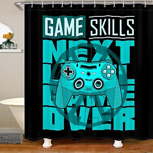 Gamepad Stoff Duschvorhang 180x180 Gamers Gaming Wasserdichtes Duschvorhang Textil Jungen Video Spiele Fähigkeiten Geometrisch Schick Teal Blau Action Buttons Dekor