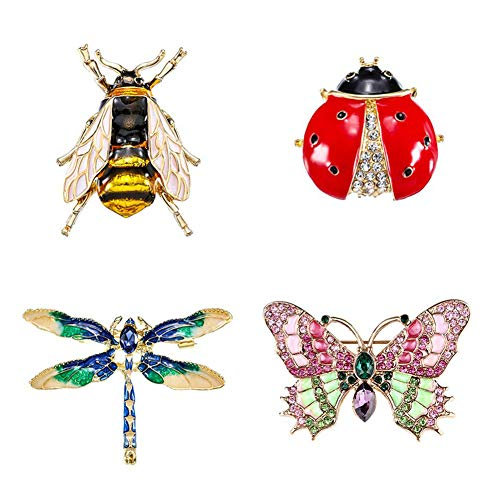 QincLing 4 Pieces Crystal Rhinestone Brooch Pins Suit Dress Brooch Cute Bee Fly Dragonfly Ladybug Butterfly Insect Brooch Enamel Brooches Ladies Fashion Brooches For Women Wedding Bridal
