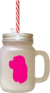Hot Pink American Cocker Spaniel Silhouette Frosted Glass Mason Jar With Straw