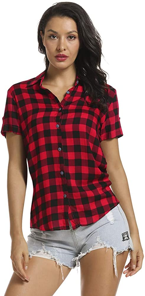 OCHENTA Women's Short Sleeve Blouses Plaid Button Down Shirt Casual Summer Tops