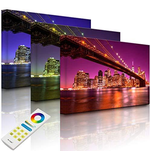 Lightbox-Multicolor | Beleuchtetes Bild | Skyline von Manhattan | 100x70 cm | Fully Lighted