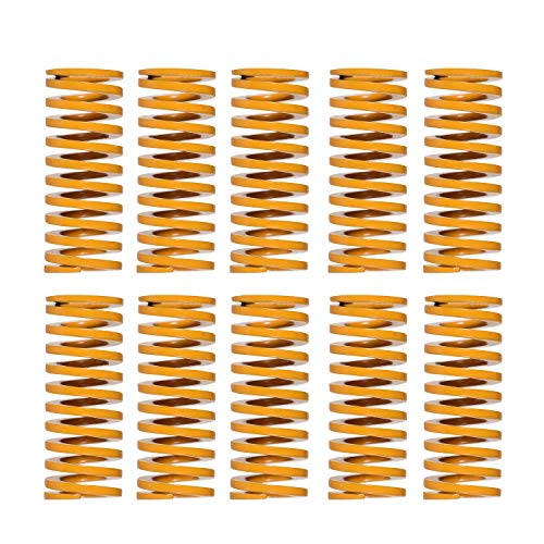 Aibecy Molduras amarillas Muelle de compresión Cama de compresión Muelle 10 mm OD 20 mm Longitud Compatible con Creality CR-7 CR-8 CR-10 CR-10 S4 CR-10 S5 Impresora 3D, 10 piezas