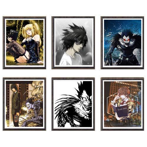 Death Note Manga Anime Yagami Light vs L Misa Ryuuku Art Prints Wall Living Room Decor,8 x 10 pulgadas, sin marco, juego de 6 piezas