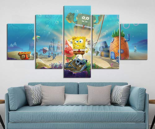 WANGZUO Leinwand Bilder Spongebob Schwammkopf Kampf Um Bikini Bottom, Cartoon Leinwand Malerei Wandkunst Anime Poster Wandbild Für Home Decor/Rahmen/150x80CM