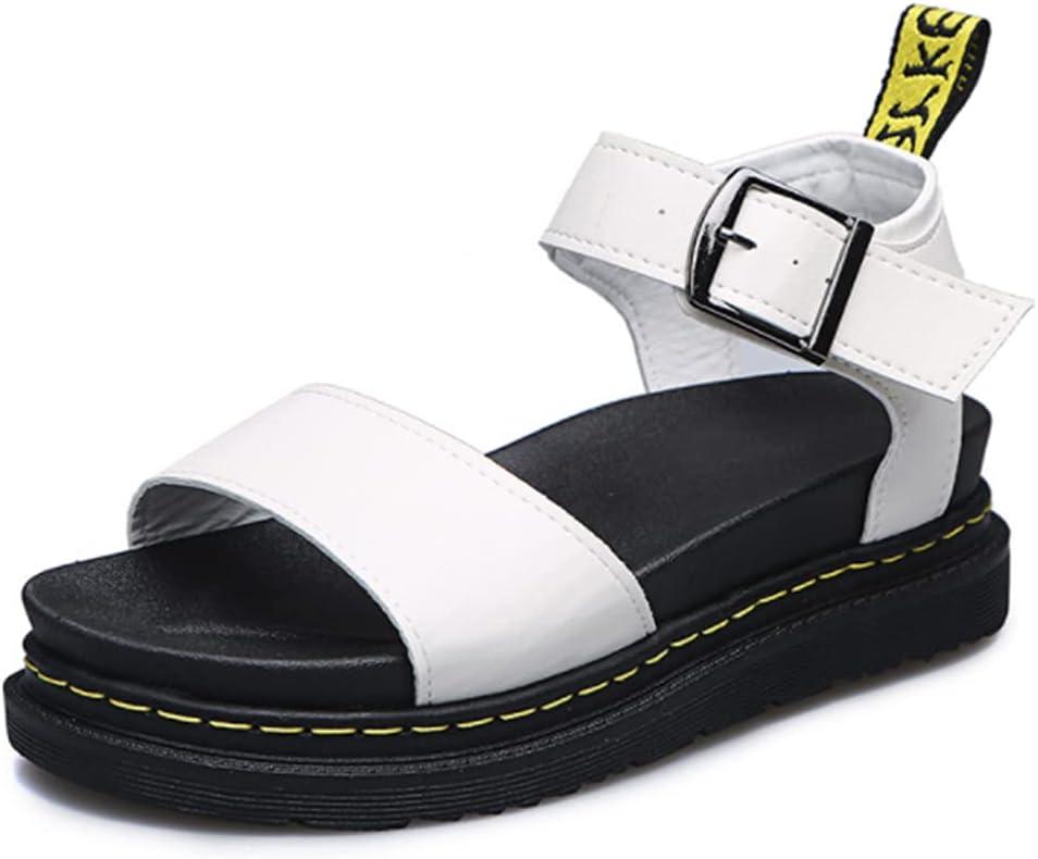 DaVanck Simple and Versatile Sandals 2021 Summer Thick-Soled Buckle Sandals Women Casual Fashion Women Roman Sandals White