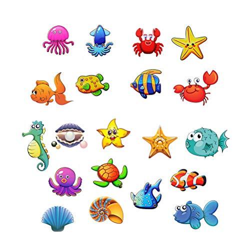 Toyvian Pegatinas de bañera de Dibujos Animados Pegatinas de baño para niños, Animales de mar, PVC, Impermeables, 20 Piezas