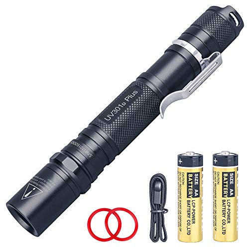 LIGHTFE Black light 365nm UV Flashlight UV301D-Plus Vision with SSC UV Light LED, Max. 3000mW Power output, Black Filter Lens, 2 AA Batteries for UV Glue Curing, Rock and Mineral Detector