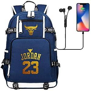 510fN6y7kuL. SS300  - GXB Mochila de Ocio Juvenil Baloncesto Schoolbag Viaje Rucksack Laptop Bag NBA Bulls Michael Jordan Azul