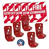 Fire Extinguisher Sign Sticker Bracket Wall Mount - Pack of 5 Self Adhesive Decals Weatherproof UV Protected AND 5 5 lb Hooks