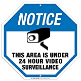 Notice This Area is Under 24 Hour Video Surveillance Sign - 11'x11' - Octagon .040 Rust Free Aluminum - Made in USA - UV Protected and Weatherproof - A90-131AL