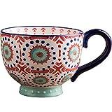 Taza grande de cerámica, tazas de avena, tazas de desayuno, tazas de leche, taza de café de gran capacidad, taza de la mañana de 13 oz / 400 ml, taza de té, leche,para el hogar