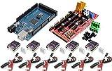 TECNOIOT 3D Drucker Kit für Arduino Mega 2560 R3 Entwicklungsboard + RAMPAS 1.4 Controller + 5 Stück DRV8825 Schrittmotor Modul + Endstop 6pcs