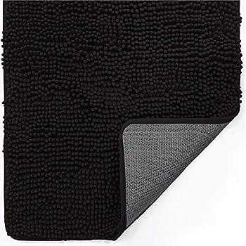 Gorilla Grip Indoor Durable Chenille Doormat 30x20 Soft Absorbent Mat Machine Wash Inside Mats Low-Profile Rug Doormats for Entry Back Door Mud Room Garage Floor Home Décor Essentials Black