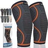 MODVEL 2 Pack Knee Brace | Knee Compression Sleeve for Men & Women | Knee Support for Running | Medical Grade Knee Pads for Meniscus Tear, ACL, Arthritis, Joint Pain Relief. (Medium, Orange)