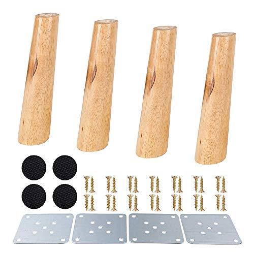 Juego de 4 patas de muebles de madera, madera maciza cónica, M8, muebles de repuesto para sofá, armario, otomana (patas inclinadas de 20 cm)