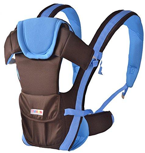 Hollwald Porte Bébé Ventral/Dorsal Transporteur Sac en Coton Echarpe de portage Nouveau-né de 0 à 36 mois Multicolore (bleu foncé avec ceinture)