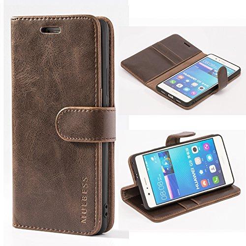 Mulbess Handyhülle für Huawei P9 Lite Hülle Leder, Huawei P9 Lite Handy Hülle, Vintage Flip Handytasche Schutzhülle für Huawei P9 Lite Case, Kaffee Braun