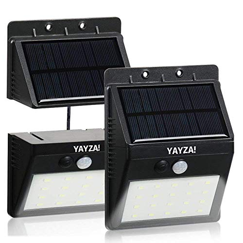 YAYZA! 2-Pack Solar Panel Powered Wireless Wall Light 30 LED 6W 500lm Split Separable Waterproof Outdoor Security PIR Motion Sensor + 3 Lighting Modes for Garden Garage Pathway Basement Shed Porch