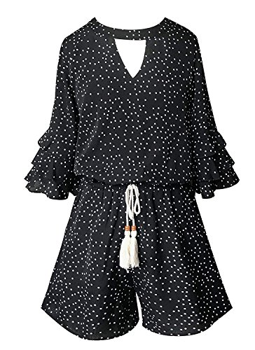 Smukke, Big Girls Gorgeous Floral Printed Tier Ruffle Short Summer Sleeves Romper (Many Options) with Pockets, 7-16 (12, Black Multi)