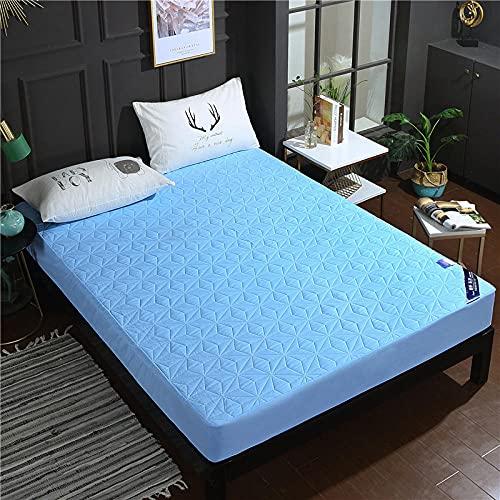 CYYyang Funda colchón Microfibra, elástica y Ajustable, Sábana Impermeable de Color Puro orina-Azul_90 * 200cm