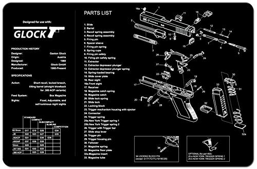 Ade Advanced Optics Gun Cleaning Mat - 3mm Neoprene - 17 x 11 Inches Waterproof - Oil Resistant - Hand Gun Cleaning Mat - Detailed Diagram and Assembly Instruction for Glock 9mm Gun Cleaning Mat