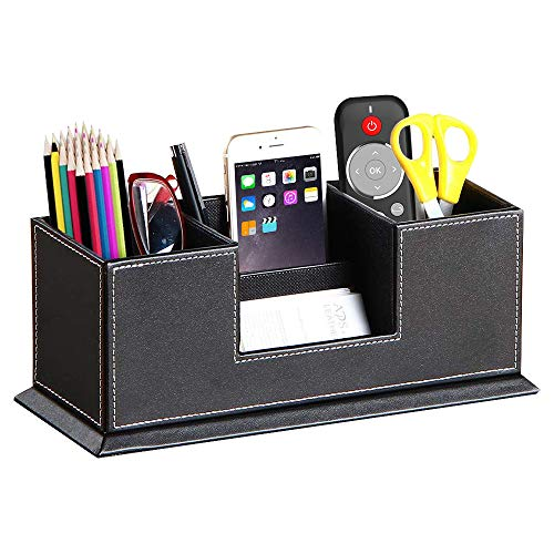 PUSU Leather Cute Pen Organizer,Pencil Holder,Pen Cup/Stand/Tray/Container/Caddy,desk organizers and accessories,Office Supplies Desktop Storage Box for Stationery,Business Card,Phone,etc.… (black)