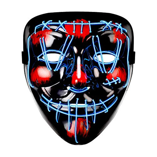 Halloween Mask LED Purge Mask Light Up Scary Mask for Festival Parties Cosplay Costume