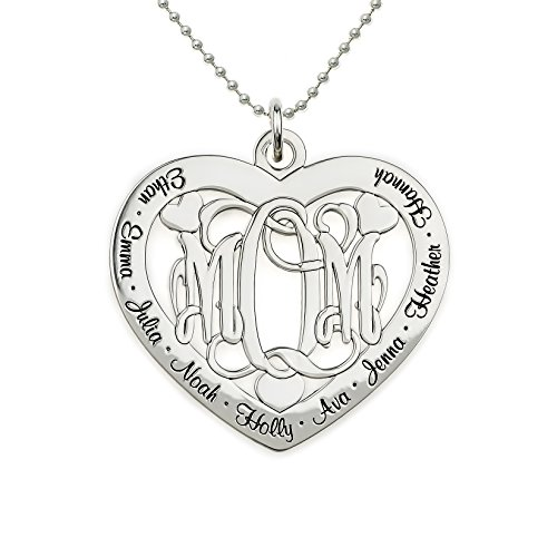 AJ's Collection Big Lovie Dovie Personalized Heart Name Necklace. Customize The Three Initial Monogram and Names Surrounding it. Choice of 925 Chains