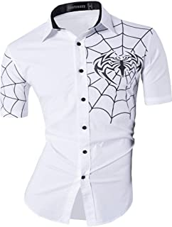 Men's Slim Fit Casual Short Sleeves Button Down Dress Shirts Tops JZS055