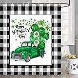 JAWO St. Patrick's Day Duschvorhang, Buffalo Karo Plaid St.Patrick's Truck Auto mit Luftballons, Dekor, Bauernhaus-Duschvorhang-Sets, Stoff-Duschvorhang-Haken, 177,8 cm
