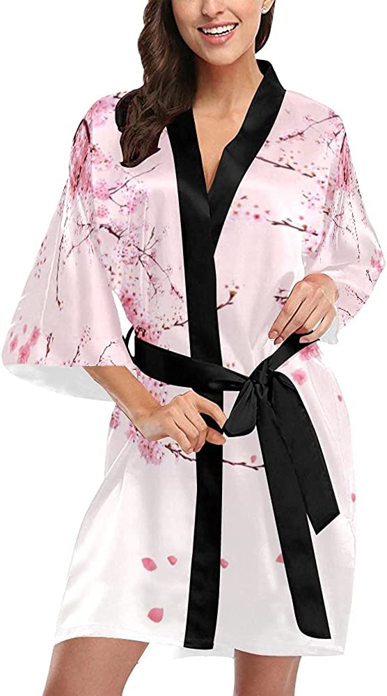 Quinn Cafe Attention brand Women's Peach Blossom Pink Clearance SALE Limited time Short Flower Kimono B Robe