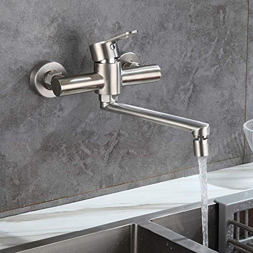 Grifo de cocina mezclador de pared Cobre para fregadero de cocina Fregadero de lavandería Flexible 2 funciones Caliente y frío Grifo de pared con salida individual flexible