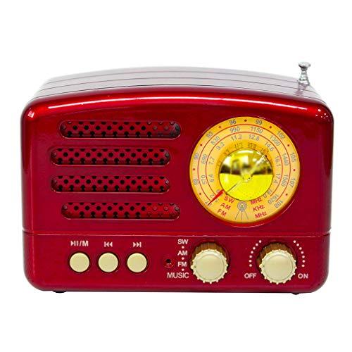 Totento Radio FM Am SW Retro Diseño Vintage Portatil de Formato de Madera con Altavoz Bluetooth Apoyo AUX, SD USB MP3, Ventana Grande de Sintonización, Recargable (Rojo)